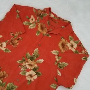 TOMMY BAHAMA• Silk Floral Shirt XL